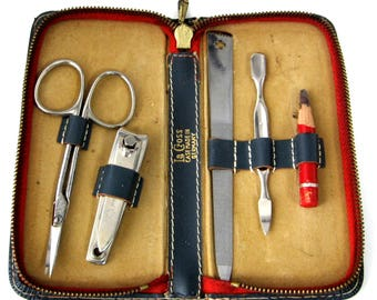 Vintage LeCross Manicure Set Leather Travel Manicure 1960s Gents Travel Set Zipper Case 5 Stainless Tools