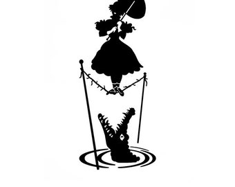 2 haunted mansion girl on rope and crocadile decal