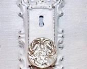 Sale Vintage victorian door knob keyhole plate Shabby Chic crystal Door Knob Hook cast iron Decor Shabby Chic Decor Curtain Tie Back