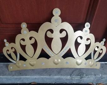 One Metal Gold Glitter CROWN Wall Decor/Distressed Princess Tiara Furniture  Decor,Prince Princess Kids Nursery, Girls Room, Disney Fairytale