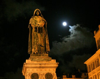 Rome Italy, Giordano Bruno in Campo de Fiori in color OR black and white fine art photo print, 8x10 with 11x14 mat ready to hang