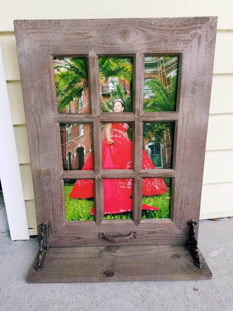 Sale Rustic Farmhouse Window Photo Frame With Shelf