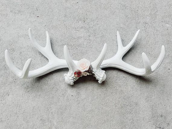 On Sale Faux Antler Wall Decor Faux Taxidermied Faux Antlers Deer Antler Hook Jewelry Display Jewelry Organizer Woodland Decor