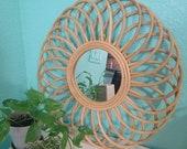 24 quot Round woven wood wicker rattan Mirror Retro tropical Mid Century Decor boho Mirror MCM Vintage look