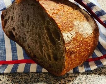 Blue striped Linen Drawstring Bread Bag