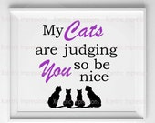 Cat digital print, cat print, digital print,  cat art digital print, silhouette, my cats are judging you so be nice digital print, cats, cat