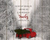 Red truck with Christmas tree - PNG file, Instant download