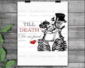 Till death do us part SVG, Silhouette files, Cutting files, love, instant download, Till death PNG, skulls SVG, skull vinyl stencil, skull