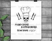 Instant download Many have eaten here few have died, skull stencil, skull vinyl stencil, kitchen skull svg, skull svg, skull png, silhouette