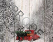 Red Truck with Christmas Tree - without quote