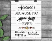 Alcohol SVG cut file, alcohol PNG, alcohol stencil, alcohol, Alcohol because no great story started with a salad, stencil, cut file, stencil