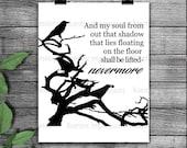 Nevermore, Edgar Allen Poe silhouette, stencil, svg, png instant download, crow stencil, vinyl stencil