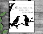 All that we see or seem, Edgar Allen Poe silhouette, stencil, svg, png instant download, crow stencil, vinyl stencil