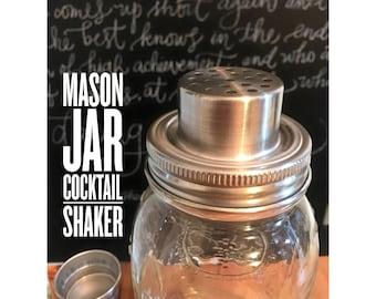 Mason Jar Cocktail Shaker, Glass Mason Jar Cocktail Shaker, Vintage Cocktail Shaker, Martini Shaker, Ball Mason Jar Shaker