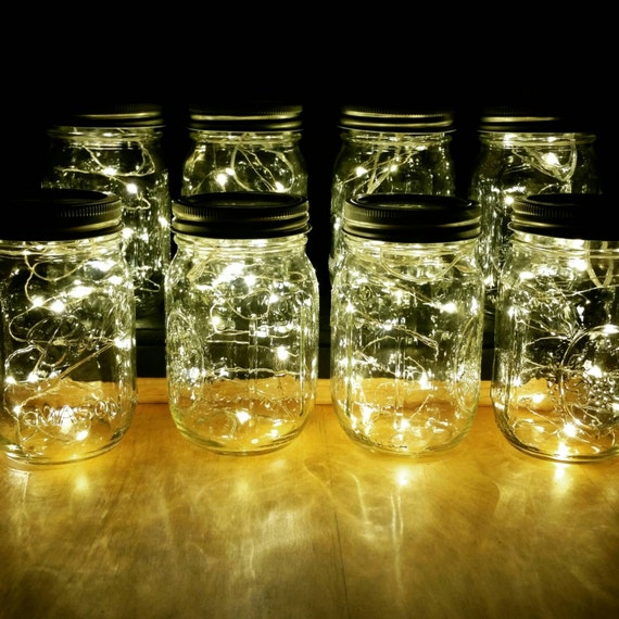 Sale 8 Firefly Lights and Mason Jar Centerpieces Wedding | Etsy