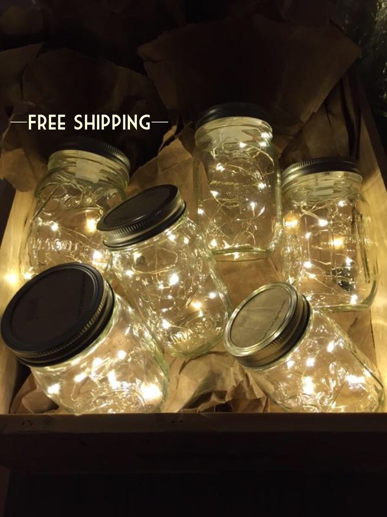 Firefly Lights and Mason Jar Outdoor Lightning rustic Fairy image 0