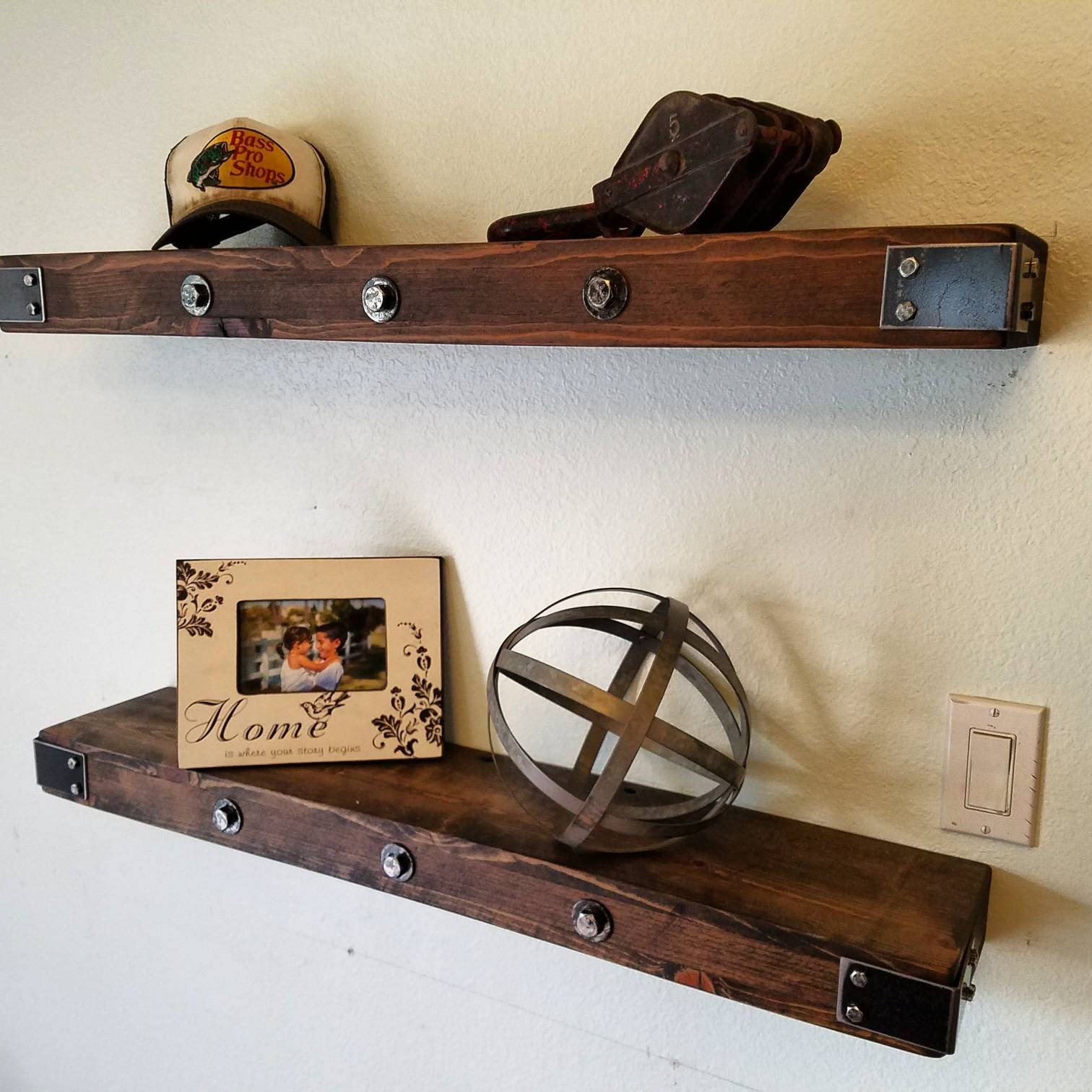 Fantastic Handmade Rustic And Reclaimed Wooden Floating Shelves Wood Wall Shelf Mantel Storage With Steel Corner Brackets And Bolt Washer Hardware Download Free Architecture Designs Rallybritishbridgeorg