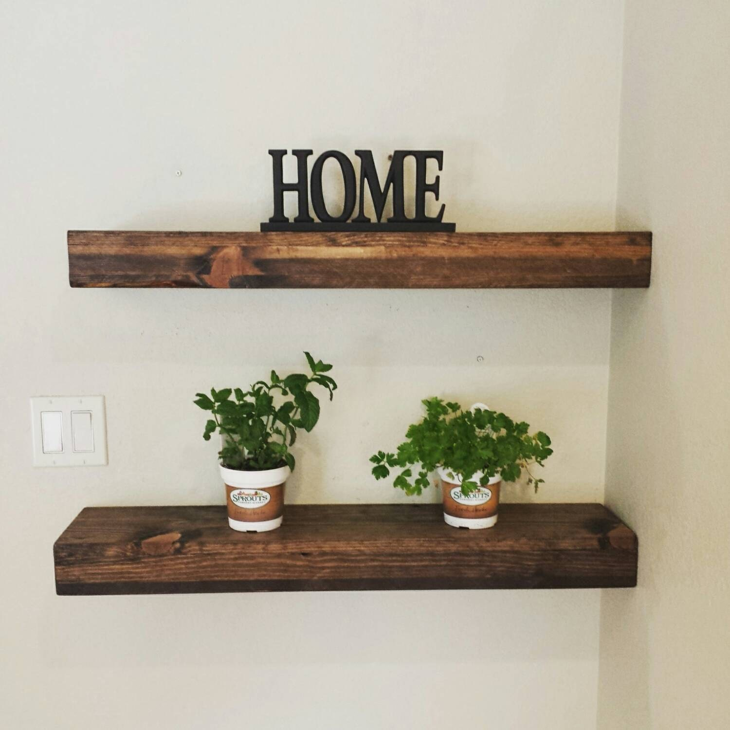 Rustic Reclaimed Wood Dark Walnut Floating Shelf Wall Shelf