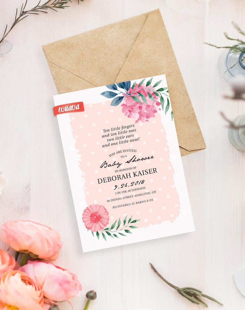 Pink Floral Baby Shower Invitation