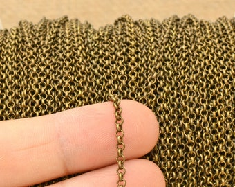 100 ft of Rolo Cable Chain 4.7mm Wholesale Unsoldered Links 47ROLO Antique Copper Rolo Chain bulk Chain