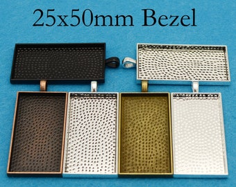10/50 pcs - 25x50mm Pendant Tray, 1x 2 inch Pendant Setting, Rectangle Bezel Blanks - Silver/Bronze/Copper/Black for Glass or Resin Jewelry