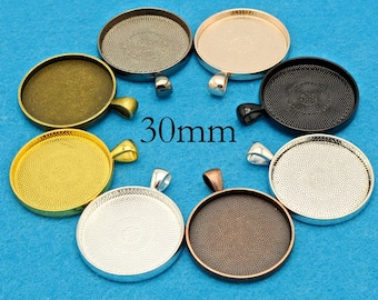 chs3059 10 Stainless Steel Round CABOCHON SETTING Bezel Frame Charms fits 30mm