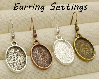20pcs wood Surgical Steel Earring Blank Bezel Earring Trays Earrings Bases Settings Cabochon DIY Earring Kits