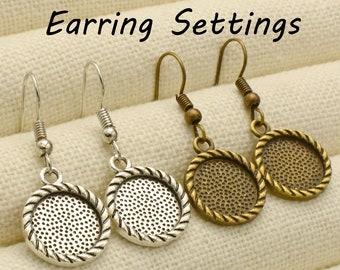Rope Trim Charm Earring Base 20 pcs Square Earring Blanks Diamond shape 12mm Earring Bezel Setting