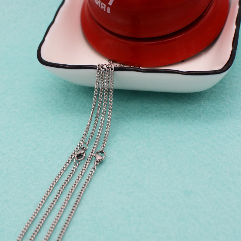 20 pcs Stainless Necklace Chain Stainless Steel Chain Necklace 2mm Stainless Steel Curb Chain Stainless Chain Necklace