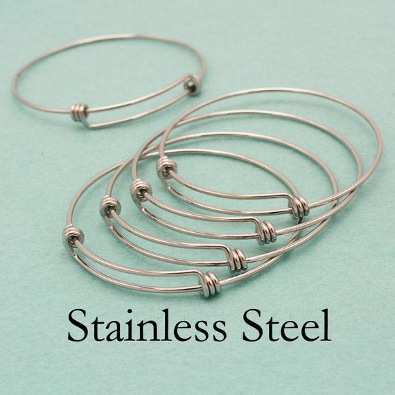 blanks charm bracelet 15 pcs antique bronze metal wire bangles adjustable bangle bracelet