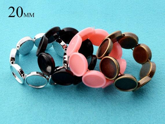 10 plateau pcs - 20mm Bracelet blancs, 20mm Bracelet cadre, plateau 10 Bracelet rond 7aa668