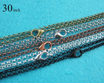 25 pcs 30 Inch Rolo Chain Necklaces, 76cm Round Circle Link Chains, Metal Loop Chain Necklace Available in 5 Colors