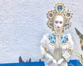 Russian Doll in Traditional Dress. Beautiful Doll in whites blues. Doll built over Cone for display Mantle, Hutch, Doll, Girl Doll 10in