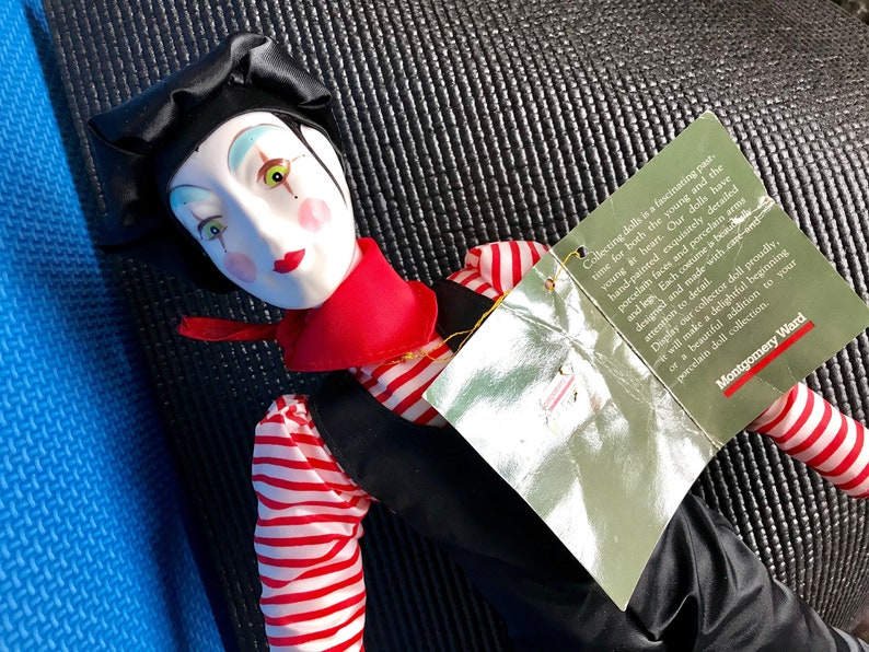 Porcelain Clown  Christmas Clown Doll with porcelain hands, feet, head in  red and black costume  Beautiful 17 inch Clown Doll, Bed Doll