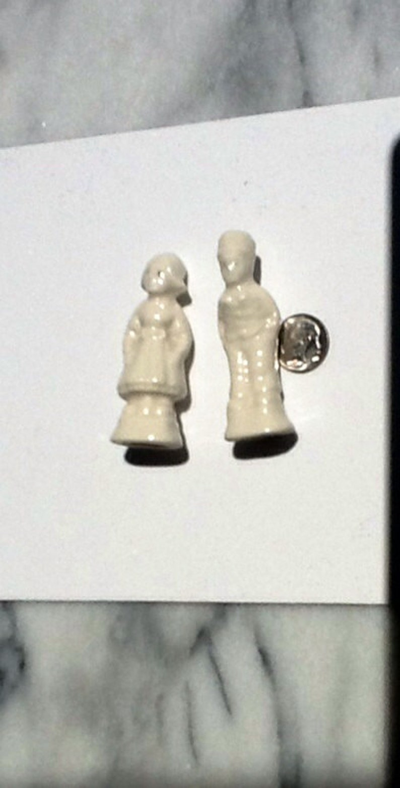 Unique Collectibles. Beautiful Antique Sparkling White china Lot of 2 Rare Miniature Dutch Boy /& Girl Figures in white porcelain