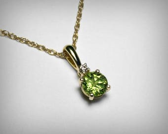 Peridot pendant etsy genuine peridot necklace 14k genuine diamond natural peridot pendant 14k yellow gold august birthstone birthday peridot green necklace aloadofball Gallery