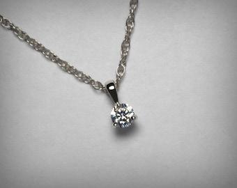Diamond Necklace Pendant, 14K Genuine Diamond Pendant Necklace, 14K White Gold or Yellow, Natural Solitaire Diamond Necklace Jewelry Martini