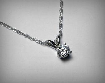 Diamond Necklace, Genuine Diamond Pendant, Solitaire Diamond Necklace, 14K White Gold, Natural Diamond Necklace, Diamond Pendant, Yellow