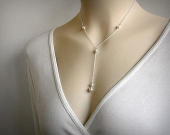 Y Necklace, Pearl Necklace, Pearl Y Necklace, Lariat Necklace, Pearl Pendant, Silver Pearl Necklace, Silver Necklace, Y, Pendant, Jewelry