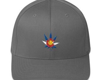 a5f6112d866 FlexFit Colorado Flag Marijuana Leaf Embroidered Hat 420 MMJ Pot Vaporizer  Vapor Weed Green Flex Fit