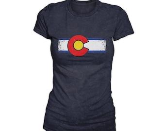 Womens Grunge Style Colorado Flag Shirt