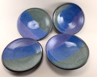Floating Blue and Purple Small dishes Handmade of Stoneware Clay.  Made for Food Prep or Condiments. These are Ready to Ship.