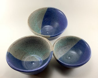 Set of  Prep Bowls in Purple and Blue Glazes, Handmade of Stoneware.  These are ready to ship. Condiment Bowls, Prep Bowls. Small Bowls