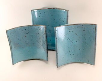 Turquoise Soap dish, handmade from Stoneware Clay, This is ready to ship