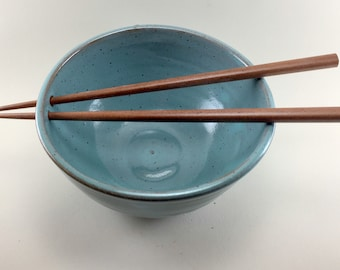 Noodle/Rice Bowls in Turquoise with Chopsticks Handmade from Stoneware.  Pho Bowl, Chopstick Bowls, Rice Bowls,  These are ready to ship.