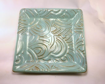 Handmade, Stoneware, Turquoise Square Plate with Texture, Ready to Ship