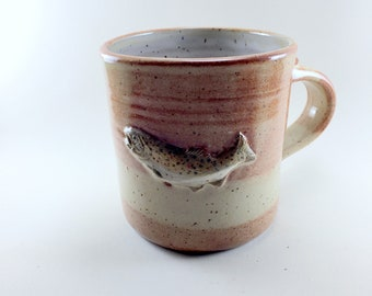 Brown Trout Mug, Handmade with Stoneware Clay and glazed with Cream Breaking Rust Glaze, Ready to Ship