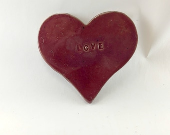 Handmade, Stoneware, Cranberry, Valentine, Love Magnet.  This is Ready to Ship.