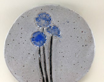 Set of  6 White Coasters  Stamped with Cornflowers Handmade from Stoneware.  Ready to Ship.  Trivets, hot plate pad,