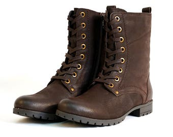 1b01fa18720b Aspele Women s Brown Nubuck Leather Combat Biker Ankle Lace Up Boots